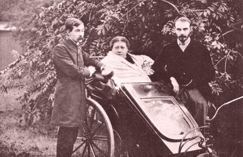 H.P. Blavatsky in 1891 with James Pryse and G.R.S. Mead