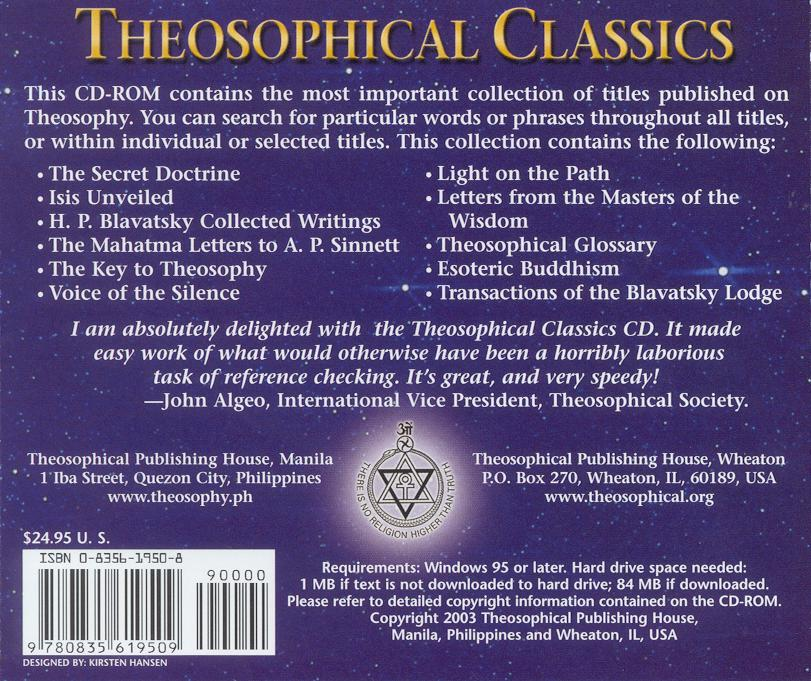 Theosophical Classics -  CD ROM - Back Cover